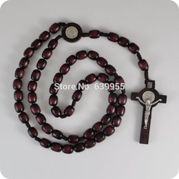 Wholesale Wholesale Religious Rosaries - Wholesale-NEW dark Brown wood Rosary Beads Saint Benedict Medal INRI JESUS Cross Pendant Necklace Catholic Fashion Religious jewelry