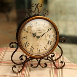 Wholesale Relogio Mesa - Wholesale-Europe Antique Style Wrought Iron Desktop Clock with Silent Movement Crafts Home Decoration watch relogio de mesa horloge Clocks