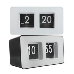 Wholesale Retro Desk Clocks - Wholesale-New Arrival Best Price High Quality Design Simple Modern Unique Retro Concise Simple Cube Nice Desk Wall Auto Flip Clock