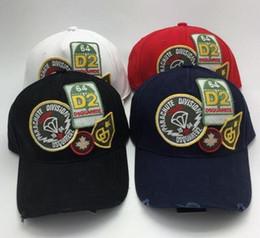 Wholesale Patch Caps - Men's D2 Parachute Division Caps Letter and Patch Adjustable Cotton Embroidery Leisure Baseball Hats (4 colors)