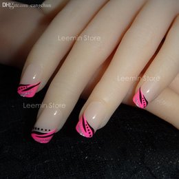 Wholesale Gentle Pink - Wholesale-false nail 24 pcs  set, pink leaf pattern gentle nail for daily use