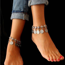Wholesale Gypsy Anklet - Wholesale 12pcs set Gypsy Antique Silver Turkish Coin Anklet Ankle Bracelet Beach Foot Jewelry Ethnic Tribal Festival Free Shipping