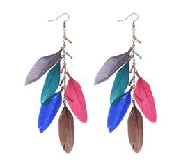 Wholesale Mix Dangling Feather Earring - Fashion Simple Bohemia Long feather earrings Mixed color feather tassel Dangle Earring for woman BOHO Retro Charm jewelry