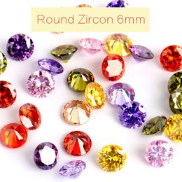Wholesale Wholesale Synthetic Gem - 50pcs lot Loose Colorful Zircon Super Flash Pointed Bottom Rhinestones Artificial Gems Jewelry Decoration 6mm