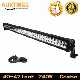 Wholesale Light Bars For Quads - USA STOCK FREE SHIPPING led light bar 42INCH 240w 4x4 quad row combo car roof led lights with wireless remote control for ATV