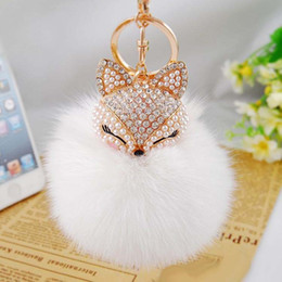 Wholesale Rhinestones For Cars - 18Color Cute Bling Rhinestone Fox Real Rabbit Fur Ball Fluffy Keychain Car Key Chain Ring Pendant For Bag Charm Hotsale