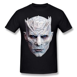 Wholesale T Shirts Halloween Men - Man Short Sleeve Tee Shirts Nights King Halloween Mask Shirt Mens Homme Interesting T Shirts White Normal Crewneck Team T-Shirt
