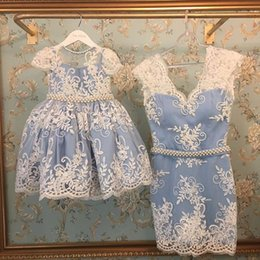 Wholesale Mother Daughter Dresses Outfits - Family Matching Outfits 2017 New Ball Gown Kids Dress Sheath Mother Daughter Dresses Wear Prom Party Parenting Dress
