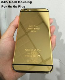 Wholesale Iphone Golden Cover - 24K Gold Plating back Housing Cover Skin for iPhone 6s 24kt 24ct Limited Edition Golden Back Cover Housing Battery Back For iphone 6s Plus