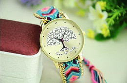 Wholesale Exotic Fashion - DIY Bracelet Watch Ladies Exotic Life Tree Gold Weaving Braided Strap Multicolors Quartz Analog Wristwatch Fashion Luxury Dress Watches Gift