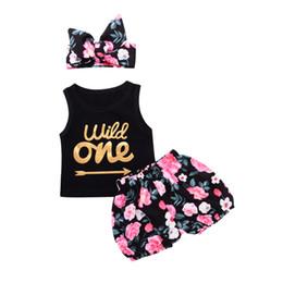 Wholesale arrow flowers - Newborn Baby Girl Clothes Suits Summer Black Wild One Arrows Print Tank Top Flowers Pants Headband 3pcs Set Mikrdoo Cotton Vest Kids Suit