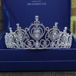 Wholesale Stone Tiara Crown - High - end luxury Europe and the United States all zircon bridal headdress wedding big crown hair ornaments wedding dress accessories wholes