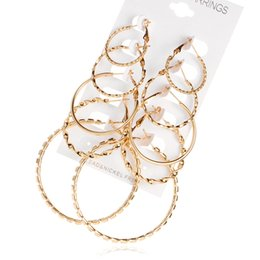 Wholesale Hoop Earrings Set - 2017 explosion paragraph Korean version of the earrings fashion retro earrings suit combination of 5 sets of jewelry wholesale DHL free ship