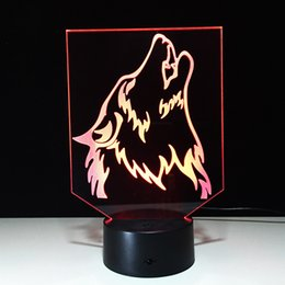 Wholesale Christmas Tree Dropshipping - 3D Howling Wolf Optical Illusion Lamp Night Light DC 5V USB Charging AA Battery Wholesale Dropshipping Free Shipping Retail Box