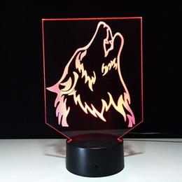 Lámparas de lobos online-3D Howling Wolf Lámpara de ilusión óptica Luz nocturna DC 5V Carga USB Batería AA Dropshipping al por mayor Caja de envío gratis