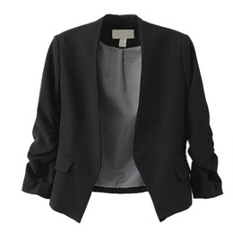 Wholesale Chic Shorts Suit - Wholesale- New Chic Basic Solid Color Fashion Women 3 4 Sleeve Pockets None Button Woman Slim Short Suit Jacket