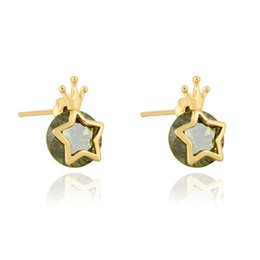 Wholesale Baby Crystal Crowns - Sweet Earrings Studs for Girls 18K Yellow Gold Plated CZ Crystal Star Crown Earrings for Baby Kids Girls Women Nice Gift ER-525