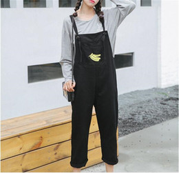 Wholesale Kawaii Pants - Wholesale- 2017 Summer New Rompers Denim Funny Fruit Printed Harajuku Casual Cute Kawaii Loose Pocket Women High Waist Jeans Overalls Pants