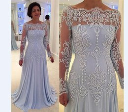 Wholesale Formal Dress Transparent Sleeves - New Coming Lavender Sheath Long Sleeve Mother of the Bride Dress Transparent Formal Party Gowns Custom Made Appliques Beaded Draped Modern