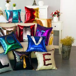 Wholesale Magic Pillow - 2017 Sequin Mermaid Pillow Case Glitter Reversible Sofa Cushion Cover Magic Glamour Pillow Case Mermaid 2 Tone Pillow Covers Cafe Home Deco