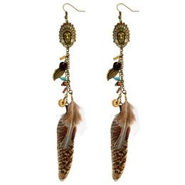 Canada idealway émail indien bohème bronze antique turquoise naturelle pierre pierre feuille de métal boucles d'oreilles gland plume hameçon cheap indian earrings Offre