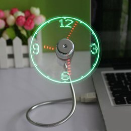 Wholesale Time Clock Usb - New Durable Adjustable USB Gadget Mini Flexible LED Light USB Fan Time Clock Desktop Clock Cool Gadget Real Time Display High Quality
