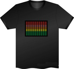 Wholesale Led Activated T Shirt Women - 2017 Christams Flashing T Shirt Hot Sell Sound Activated LED T-Shirt For Men, Women,Kids Flashing EL Light Up