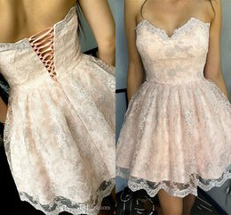 Wholesale Orange Corset Homecoming Dresses - 2017 Short Mini Sexy Blush Pink Homecoming Dresses Sweetheart Corset Back Full Lace Appliques Party Graduation Plus Size Cocktail Gowns