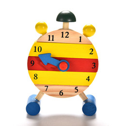 Wholesale Baby Girls Clock - Wholesale- Baby Kids Blocks Early Learning Building Educational Wooden Clock Toy Time Clock children's Educational Toys for boy and girl