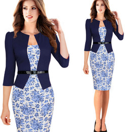 Wholesale Ladies Faux Belts - Hot Career Office Lady Faux Two-pieces Plaid Flower Knee-length Bodycon Working Pencil Dresses Womens Party Evening Formal Dress With Belt