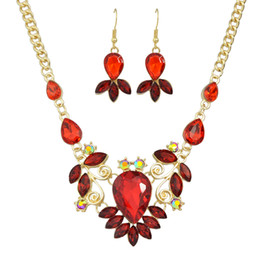Wholesale Necklace Peacock - New Luxury Famous Brand Jewelry Sets Colorful Crystal Flower Big Collar Necklace and Drop Earrings