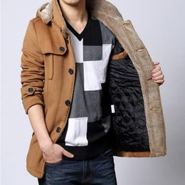 Wholesale Quilted Fleece Jacket - Wholesale- Winter New Brand Fashion Mens Long Hooded Fur Fleece Trench Coats Jackets Warm Thicken Woolen Parkas Fur Hooded Quilted Coats