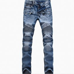 Wholesale Camouflage Pants For Men Skinny - Mens Jeans Distressed Ripped Skinny Slim Fit Designer Long Denim Blue Camouflage Hip Hop Pants Pencil Pants for Male