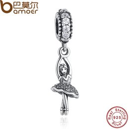 Wholesale Ballerina Jewelry Silver - Wholesale-925 Sterling Silver Ballerina, Clear CZ Dangling Charms Fit Bracelet & Necklace Sterling Silver Jewelry Accessories PAS209