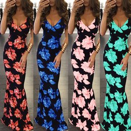 Wholesale Hot Fashion Long Sleeve Dresses - women hot new fashion style summer sleeveless backless ankle length deep v neck spaghetti strap flower printed maxi long dresses