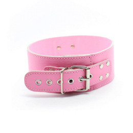Wholesale Collar S For Adults - Pink PU Leather Neck Collars Sexy Necklace BDSM S&M Fetish Harness Bondage Restraints Flirting Sex Toys for Women Adult Game
