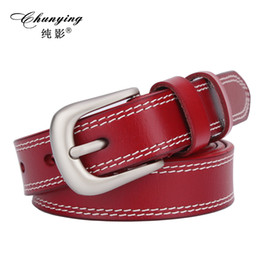 Wholesale Designer Pants For Lady - Wholesale- New designer lady pin buckle womens belt high quality genuine leather belts for woman pants strap cinto feminino