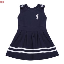 Wholesale Cute Summer Clothing - Korean Cute Princes Dress Baby Girl Clothes Sleeveless Summer Style Tank Pleated Dresses Kids O-Neck Striped Sundress Navy Blue SV017190
