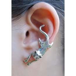 Wholesale Cuff Earrings Pairs - 2 Pairs Gothic Cat Ear Cuff Wrap Clip Earring Fashion Bronze Silver Color Animal Shaped Ear Studs Earrings For Women