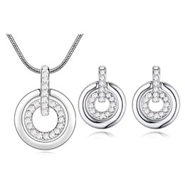 8bf3e3cf4 Hot Fashion Double Circle Pendant Necklace Stud Earrings For Women Crystals  From Swarovski Weddings Jewelry Set