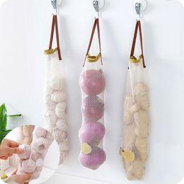 Wholesale Vegetable Storage Bags - 1pc Vegetable Onion Potato Storage Hanging Hollow Breathable Mesh Bag Storage Kitchen Garlic Ginger Mesh Storage Bag