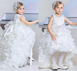 Wholesale Hi Low Ball Gowns - 2017 Ball Gown Girl's Pageant Dresses A Line High Low Tiers Organza Ruffles Princess Kids Formal Party Wears Flower Girl Dresses Bow Sash