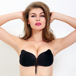 Wholesale Invisible Bra Black - Hot Nubra Butterfly Wing Invisible Bra Self Adhesive Silicone Invisible Push-up Bras for Women A B C D Cup