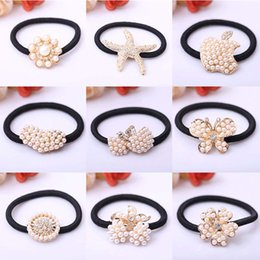 Wholesale Ponytail Hair Rope - Mix Style Pearl Beads Hair Rope Girls Hair Accessories Ponytail Elastic Hair Band