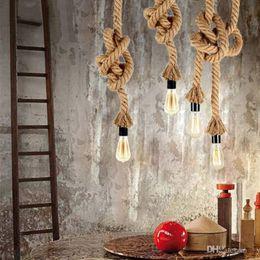 Wholesale Lamparas Led - Vintage Rope Iron Ceiling Pan Pendant Lights Retro Industrial Loft Bar Hemp Rope Lamp Fixtures Lamparas Colgantes Luminaria Luz