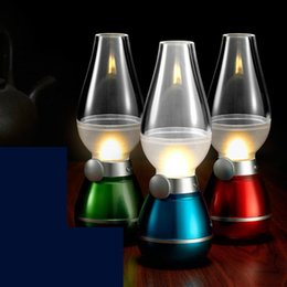 lamp led cosmos prices - Retro Classic Blow Light LED USB Rechargeable Blowing Control Kerosene Lamp Dimmable Bedside Desk Lamp Nightlight Cosmos Lamps