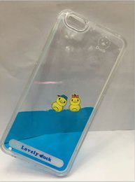 Wholesale Duck Iphone Cover - Cute duck Quicksand Dynamic Liquid Glitter Sand Silicone Cover For iPhone 7 iPhone 7 plus With Chain Phone Case