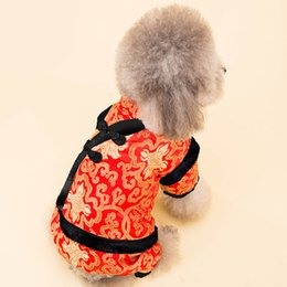 Wholesale Chinese Female Clothes - Dog Parkas Retro Pet Clothes Chinese Tang Suit Four-leg Jumpsuit Traditional Dog Cat Costumes Puppy Coat Jacket Apparel