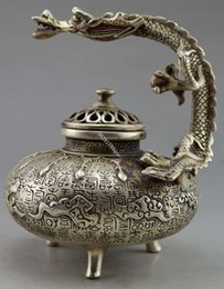 Wholesale Chinese Incense Burner Dragon - Chinese Old Handwork Tibet Silver Carved Dragon Incense Burner