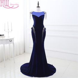 Wholesale Velvet Stockings - 100% Real Photo Mermaid Dresses Evening Wear Navy Blue Cap Sleeves Beaded Shiny Sexy Cheap Prom Dresses Long In Stock Formal Dress Gown